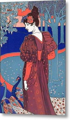 Woman With Peacocks Metal Print by Louis John Rhead