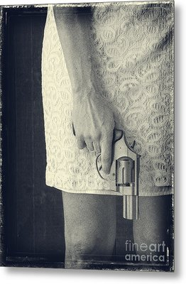 Woman With Revolver Metal Print by Edward Fielding