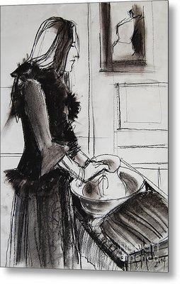 Woman With Small Pitcher - Model #6 - Figure Series Metal Print by Mona Edulesco