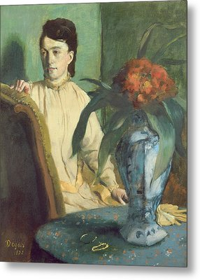 Woman With The Oriental Vase Metal Print
