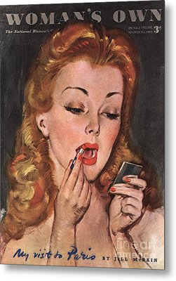 WomanÕs Own 1945 1940s Uk Make-up Metal Print by The Advertising Archives