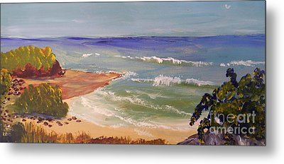 Metal Print featuring the painting Wombarra Beach by Pamela  Meredith