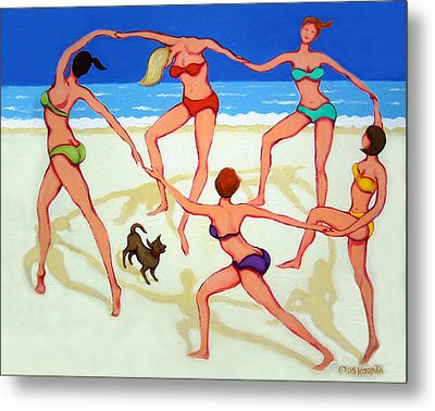 Women Dancing On Beach - Happy Dance Metal Print by Rebecca Korpita