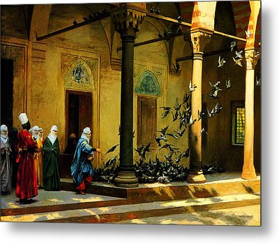 Women From Harem Feeding Pigeon Metal Print by Celestial Images