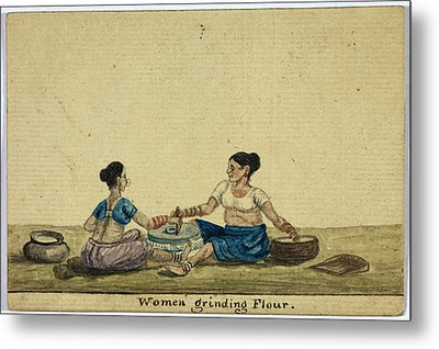 Women Grinding Flower Metal Print