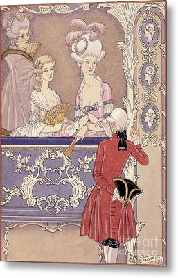 Women In A Theater Box Metal Print by Georges Barbier