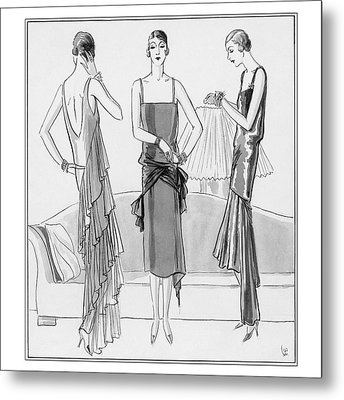 Women Model Evening Dresses Metal Print by Porter Woodruff