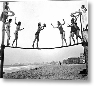 Women Play Beach Basketball Metal Print by Underwood Archives