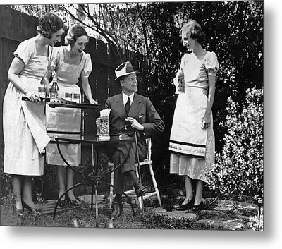 Women Practice Serving Beer Metal Print by Underwood Archives