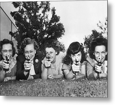 Women Take Weapons Training Metal Print by Underwood Archives