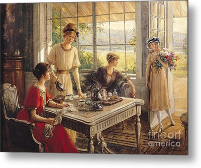 Women Taking Tea Metal Print by Albert Lynch