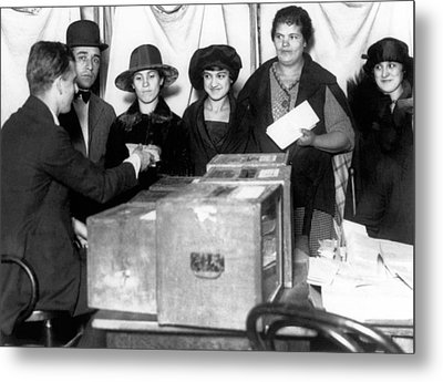 Women Voting For First Time Metal Print by Underwood Archives