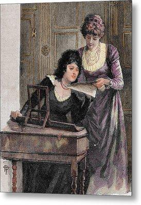 Women With A Harpsichord Metal Print by Prisma Archivo