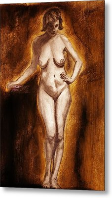 Metal Print featuring the drawing Women With Curves Are Beautiful 2 by Michael Cross