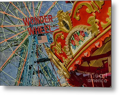 Metal Print featuring the photograph Wonder Wheel - Coney Island by Vicki DeVico