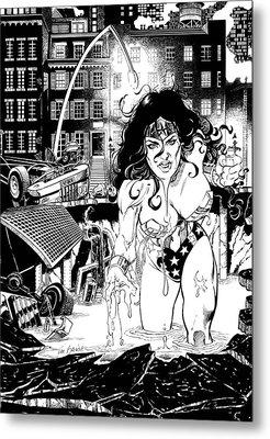 Wonder Woman Battle Metal Print by Ken Branch