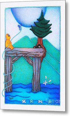 Woobies Character Baby Art Colorful Whimsical Landscape Dock Design By Romi Neilson Metal Print by Megan Duncanson