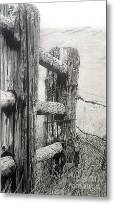 Wood And Wire Metal Print
