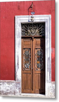 Wood And Wrought Iron Doorway In Merida Metal Print by Mark E Tisdale