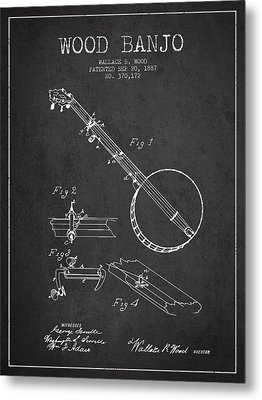 Wood Banjo Patent Drawing From 1887 - Dark Metal Print by Aged Pixel