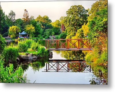 Wood Bridge Reflection Metal Print
