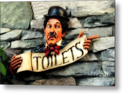 Metal Print featuring the photograph Wood Carved Toilet Sign by Marjorie Imbeau