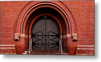 Wood Door Metal Print