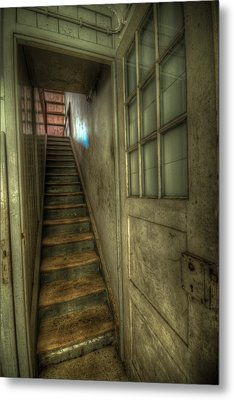 Wood Door And Stairs Metal Print by Nathan Wright