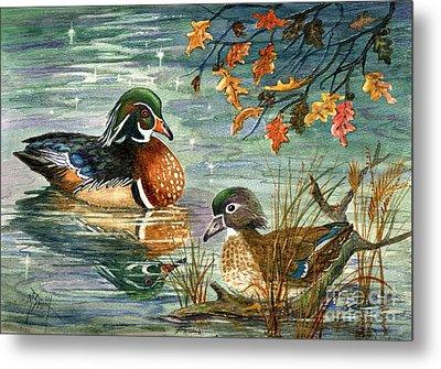 Wood Duck Pair Metal Print