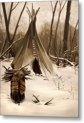 Wood Gatherer Metal Print by Nancy Griswold