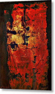 Metal Print featuring the painting Wood On Fire 3 Painting Original Sold by Renee Anderson