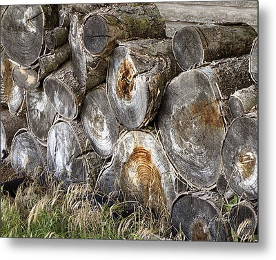Wood Pile -  Fine Art  Photograph Metal Print by Ann Powell
