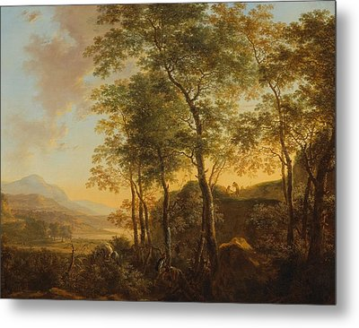 Wooded Hillside With A Vista Metal Print by Jan Both