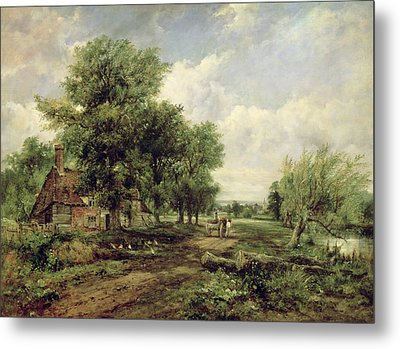 Wooded River Landscape With A Cottage And A Horse Drawn Cart Metal Print by Frederick Waters Watts