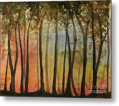 Wooded Sunset Metal Print by Bev Arnold