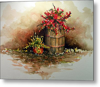 Wooden Barrel With Flowers Metal Print by Sam Sidders