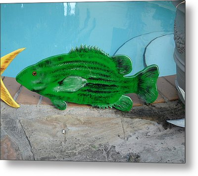 Wooden Bass Fish Metal Print by Val Oconnor