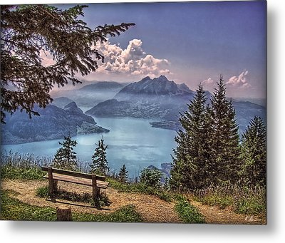 Wooden Bench Metal Print by Hanny Heim