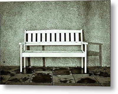 Wooden Bench Metal Print by Tom Gowanlock