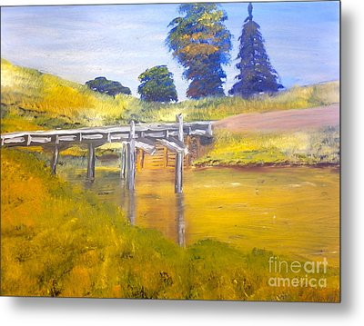 Metal Print featuring the painting Wooden Bridge At Graften by Pamela  Meredith