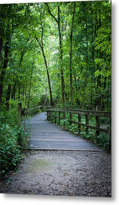 Wooden Bridge Metal Print by Wayne Meyer