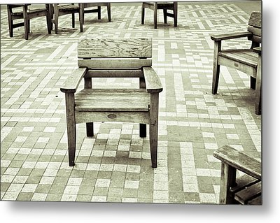 Wooden Chairs Metal Print by Tom Gowanlock