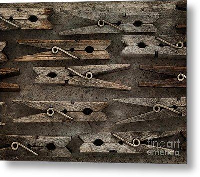 Wooden Clothespins Metal Print by Priska Wettstein