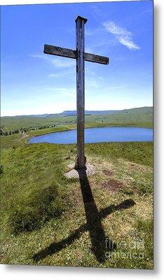 Wooden Cross Overlooking Lake Godivelle. Puy De Dome. Auvergne. France Metal Print by Bernard Jaubert
