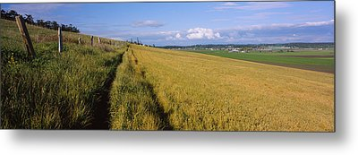 Wooden Fence Along A Farm, Ebeys Metal Print by Panoramic Images