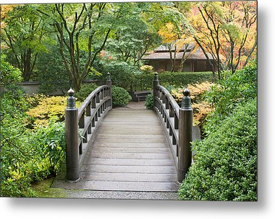 Metal Print featuring the photograph Wooden Foot Bridge In Japanese Garden by JPLDesigns