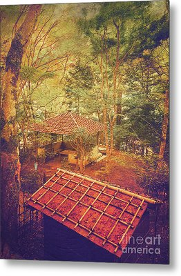 Wooden Gazebo And Small Shed In Forest Metal Print by Beverly Claire Kaiya
