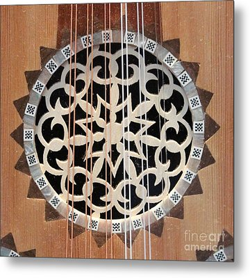 Wooden Guitar Inlay With Strings Metal Print