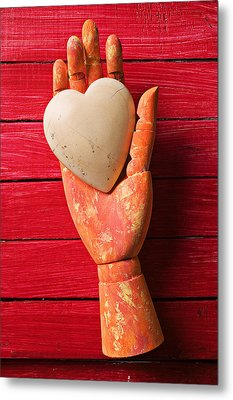 Wooden Hand With White Heart Metal Print by Garry Gay