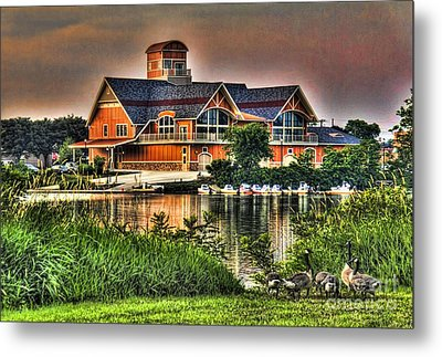 Metal Print featuring the photograph Wooden Lodge Over Looking A Lake by Jim Lepard